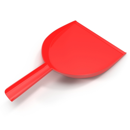 Red dustpan isolated on white background. 3D illustration