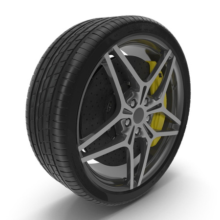 Car Wheel on white background. 3D illustration