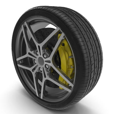 Modern automotive wheel isolated on white background. 3D illustration
