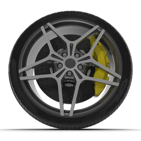 car brake: Modern automotive wheel isolated on white background. 3D illustration