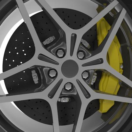 Car Wheel on white background. 3D illustration