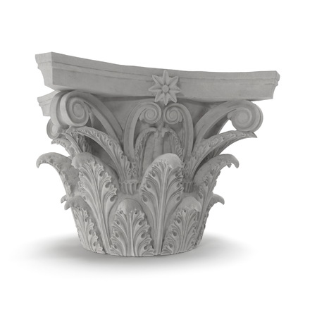 Corinthian Order Column Capital on white background. 3D illustration Stock Photo