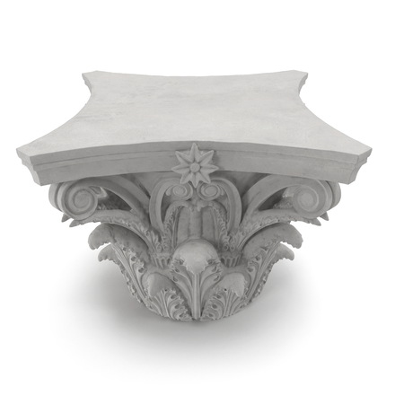 roman pillar: Corinthian Order Column Capital on white background. 3D illustration Stock Photo