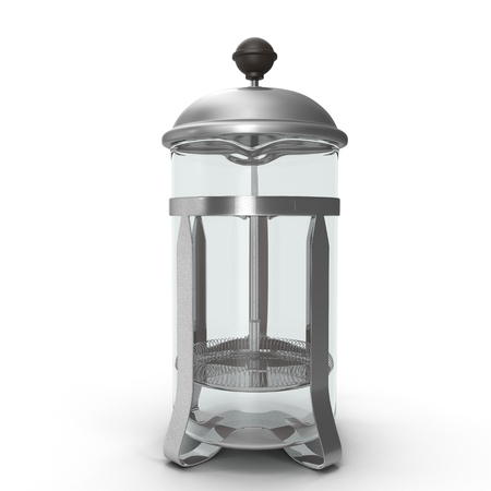 Empty French Press Coffee or Tea Maker isolated on white background. 3D illustration