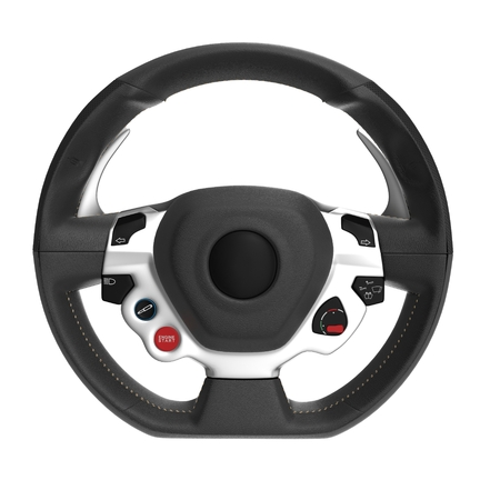 Sport Car Steering Wheel on white background. Front view. 3D illustration Imagens