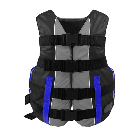 life jacket: Front view Blue Life Vest on white. 3D illustration