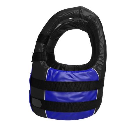 life jacket: Side view Blue Life Jacket on white. 3D illustration Stock Photo