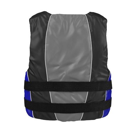 life jacket: Blue life vest jacket on white. 3D illustration