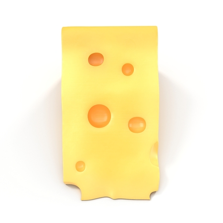 edam: A wedge of cheese with holes on white. 3D illustration