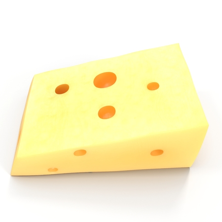 edam: Cheese with holes, isolated on white. 3D illustration