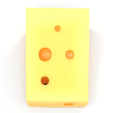 Cheese with holes, isolated on white. 3D illustration