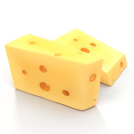 edam: Wedge of fresh cheese isolated on white. 3D illustration