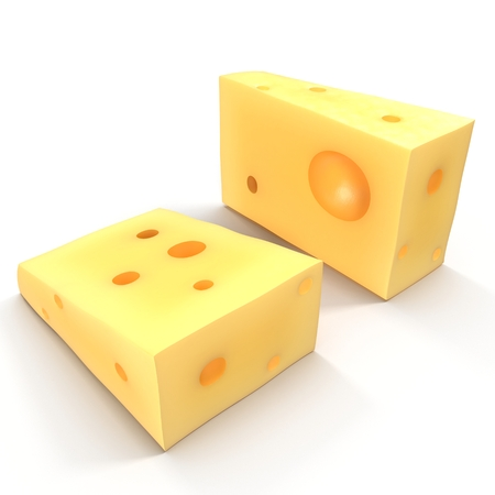 edam: Wedge of cheese on white background. 3D illustration