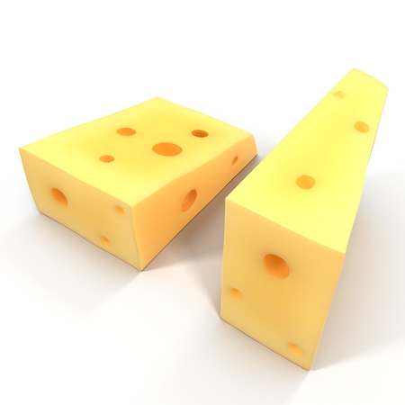 Wedge of cheese on white background. 3D illustration