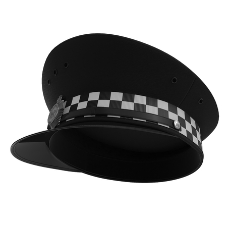 gorra policía: British Police Cap on white. 3D illustration Foto de archivo