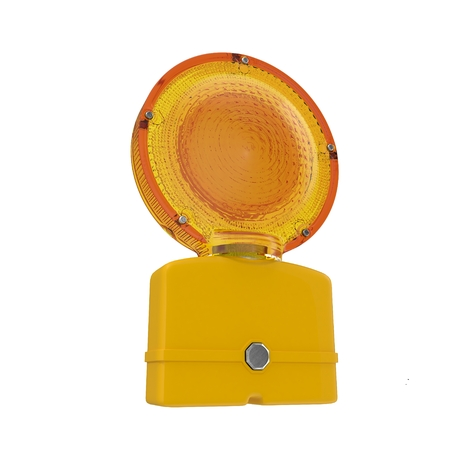 Conspicuous yellow warning road flashlight. Bypass, work, accidents or other used to indicate danger. Isolated on white. 3D illustration Stock Photo