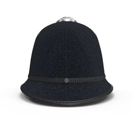 英国のボビーの白地のピスヘルメット。3 D イラストレーション 写真素材