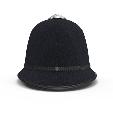 médula: UK Bobby Pith Helmet on white. 3D illustration Foto de archivo