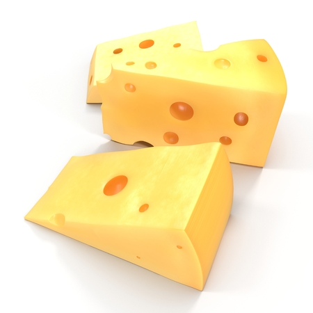 A wedge of cheese with holes on white. 3D illustration