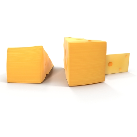 edam: Cheese Wedge on white. 3D illustration