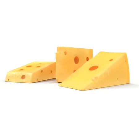 Cheese Wedge on white. 3D illustration