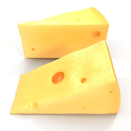 Swiss Cheese on White. 3D illustration Stock Photo