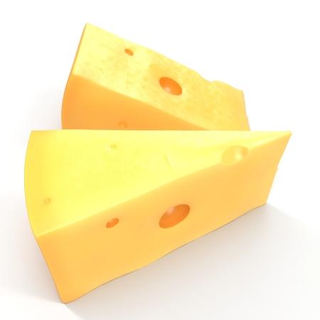 edam: Swiss Cheese on White. 3D illustration Stock Photo