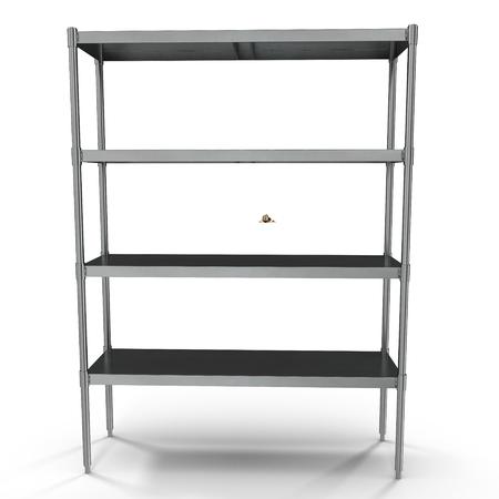 shelving: Standing Shelving Unit Stainless Steel on white. 3D illustration