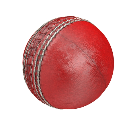 used: Used cricket ball isolated on white. 3D illustration