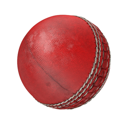 Used cricket ball isolated on white. 3D illustration