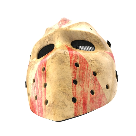 vintage hockey mask on white. 3D illustration Stock Photo