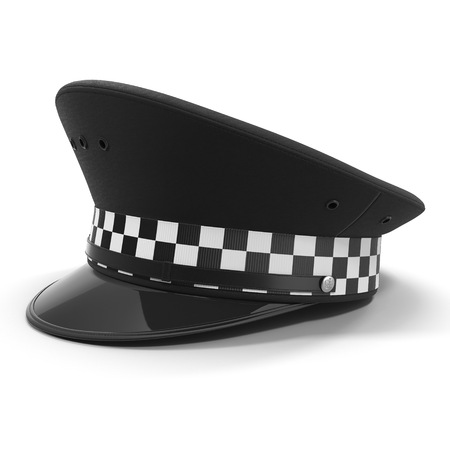 black hat: British police flat cap isolated on white. 3D illustration