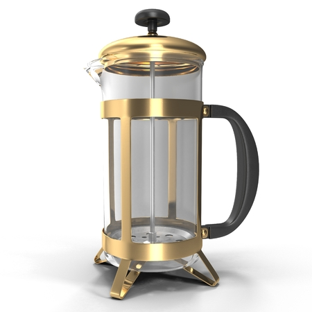 Empty tea metallic french press isolated on white. 3D illustration