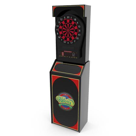 Electronic Dartboard Machine on white. 3D illustration