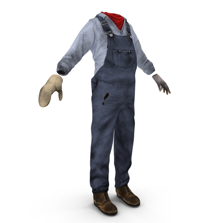 dirty clothes: Worker Clothes on white. 3D illustration
