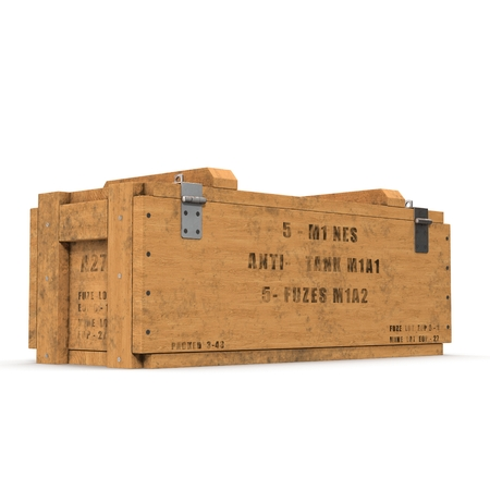 Old wooden ammo case on white. 3D illustration Stock Photo
