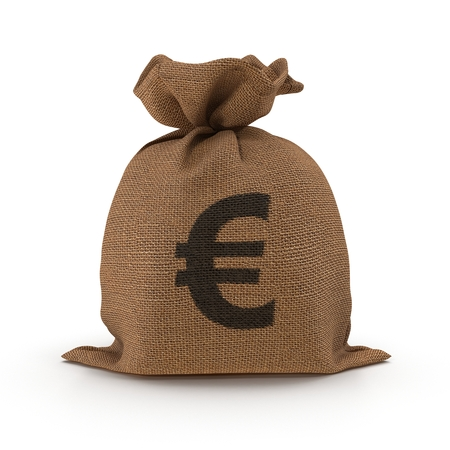 Bag from a sacking with euro sign isolated on white. 3D illustration