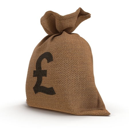 A sack bag of Pounds on white. 3D illustration Stock Photo