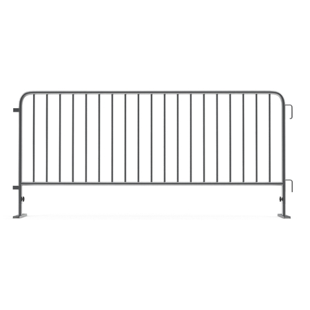 Steel barrier isolated on white. Side view. 3D illustration