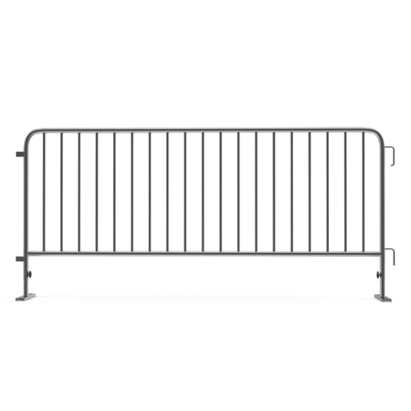 Steel temporary fence on white. Side view. 3D illustration Imagens