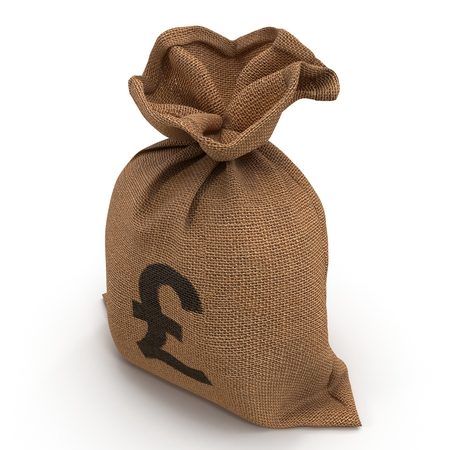 A sack bag of Pounds on white. 3D illustration Stock Photo