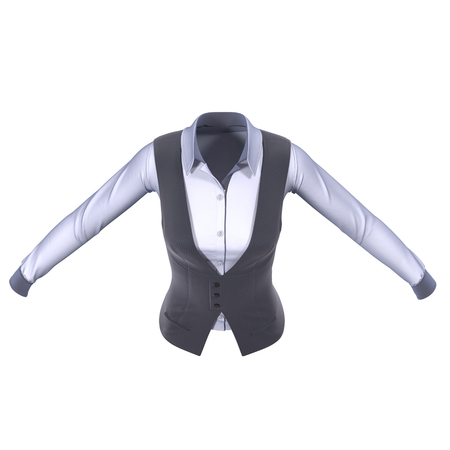 Women Suit Jacket on white background. 3D illustration