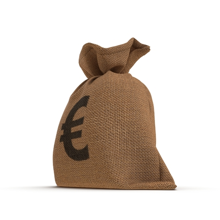 Bag from a sacking with euro sign isolated on white background. 3D illustration