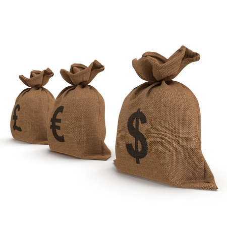 moneybag: Sacks with money different currencies on white background. Dollar, Euro, Pound. 3D illustration Stock Photo