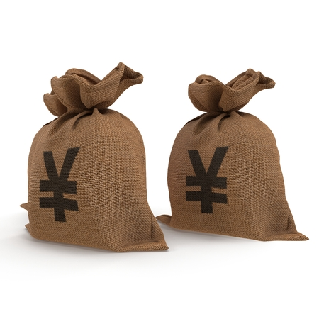 moneybag: Canvas money sack with Yen symbol on white. 3D illustration