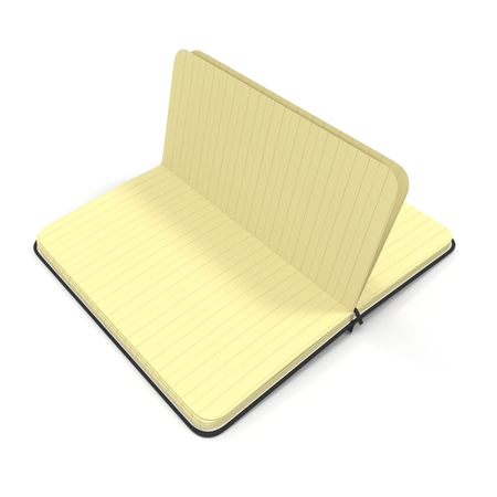 open notebook: Vintage blank open notebook isolated on white. 3D illustration
