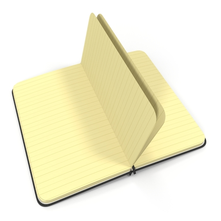 old notebook: Open Journal on white background. 3D illustration Stock Photo