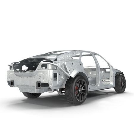 undercarriage: Sedan without cover on white. Rear view. 3D illustration