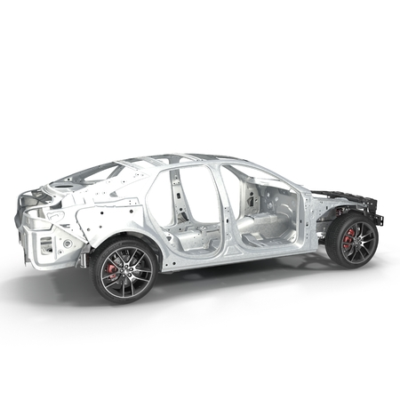 undercarriage: Car Frame with Chassis on white. 3D illustration