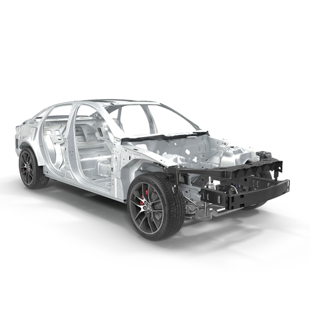 chassis: Sedan without cover on white. 3D illustration Stock Photo